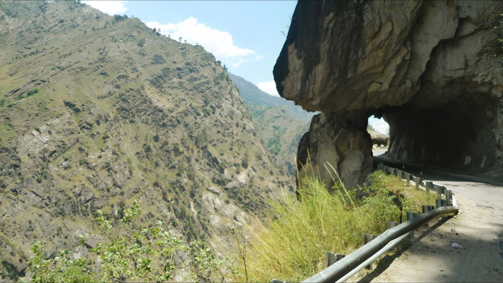 The iconic tunnel of the famous Hindustan Tibetan Highway, on the way to Reckong Peo from Shimla