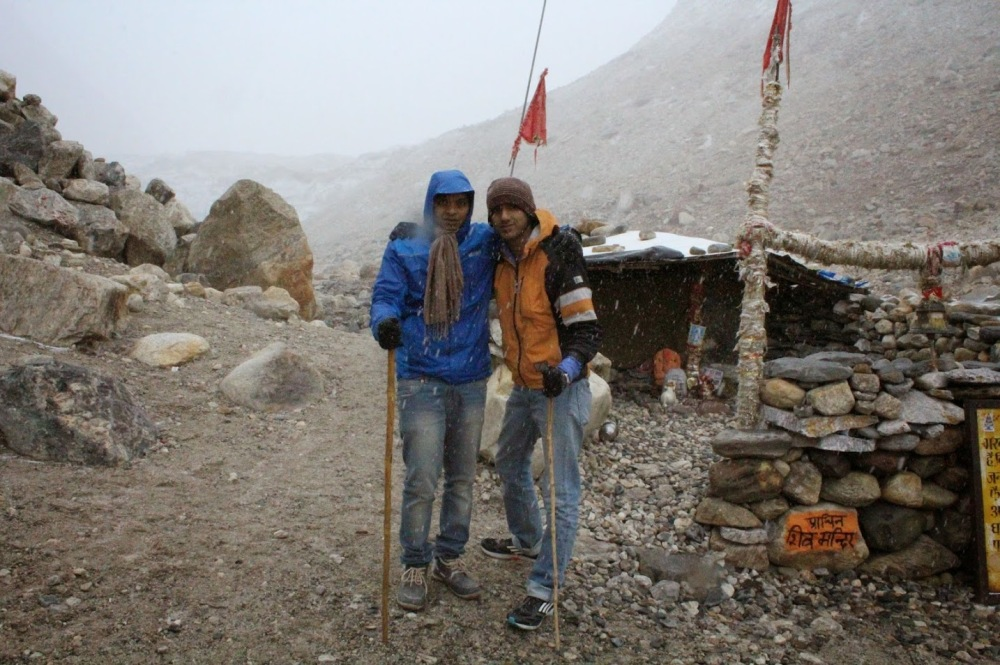 Here we are finally! Sudhin and me at the Gaumukh glacier, 4000 meters above the sea level
