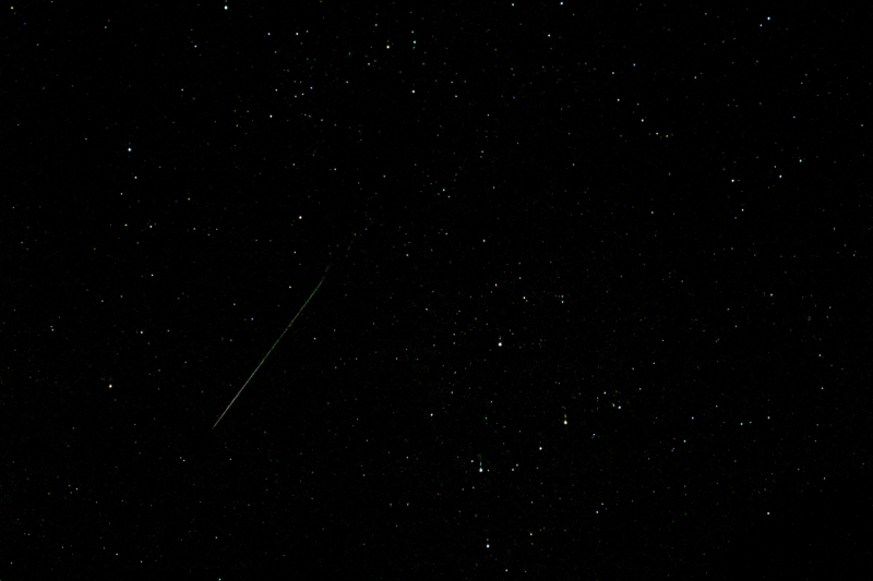A moving satellite in the starry sky