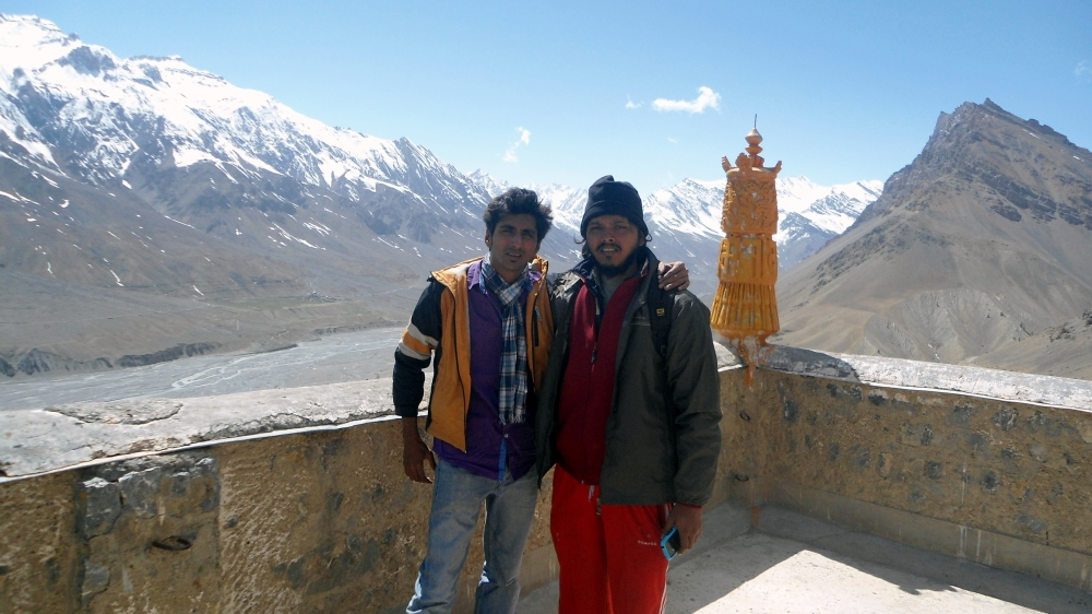 Partner in crime - Me and Nikhil on top of the Monastery.