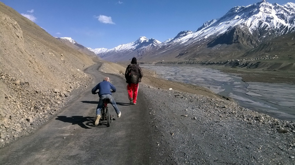 We got company. Nikhil and I walking towards Kaza along with the boy we met on the way.